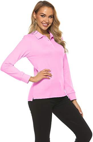 MoFiz Damen Poloshirt Langarm Baumwolle Polohemd Sport Polo Wintershirts mit Kragen Rosa L
