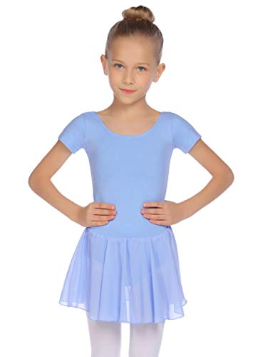 Balancora Justaucorps de ballet à manches courtes en coton pour fille - Justaucorps de danse avec jupe tutu 2-11 ans 120 bleu