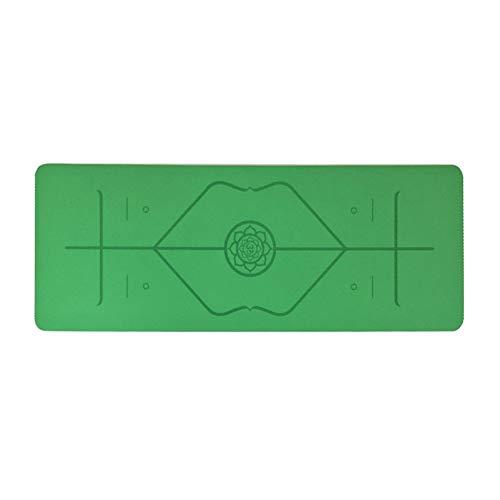 Zjyfyfyf Non Slip Yoga Mat con Eco Friendly Inodore Non di Slittamento Resistente E Leggero Spessore di 5mm Pratico (Colore : Verde)