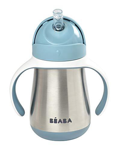 BÉABA - Trinklernbecher - 2 in 1 Babyflasche - Kindertasse mit Strohhalm - 100% dicht - Leicht zu öffnen - Abnehmbare Griffe -Tritan und Silikon - 250 ml - Blue