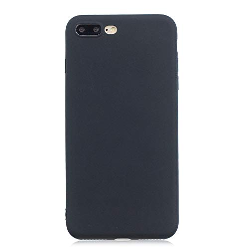 cuzz Funda para iPhone 7/8 Plus+{Protector de Pantalla de Vidrio Templado} Carcasa Silicona Suave Gel Rasguño y Resistente Teléfono Móvil Cover-Negro