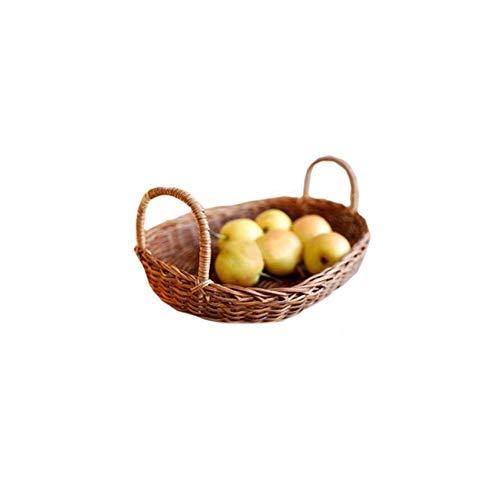 CESULIS Sencilla tejida a mano de la manera de almacenamiento de frutas cesta de mimbre Alimentos Comedor Tazón cesta de mimbre fruta del alimento de cesta de mimbre pan Caja de almacenamiento Organiz