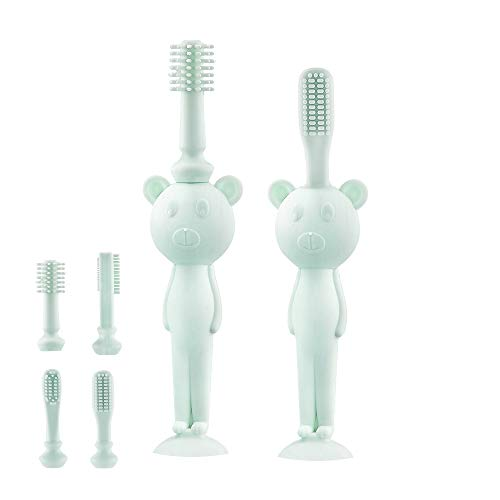 ALCOCO Baby Toothbrush Toddler's Best Silicone Toothbrush 0-4 Years Old with Suction Base Replaceable Brush Head Mint Green