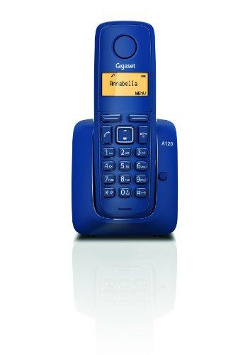 Gigaset A120 - Teléfono Inalámbrico, Agenda de 50 Contactos, Pantalla Iluminada, Color Azul