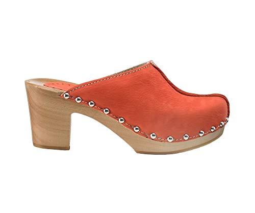 ESTRO Zuecos De Madera para Mujer Calzado Sanitario De Trabajo CDL03 (Rojo, 39)