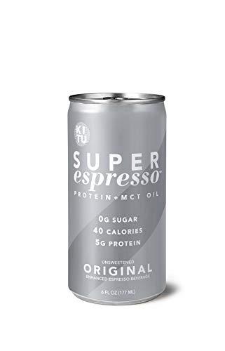 Kitu Super Espresso SugarFree Keto Coffee Cans 0g Sugar 5g Protein 40 Calories Original 6 Fl Oz 12 Pack | Iced Coffee Canned Coffee  From the Super Coffee Family