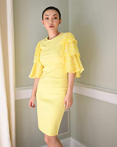 The Drop Women's Lemon/White Polka-dot Tiered Ruffle Sleeve Ribbed Dress by @jessicawang