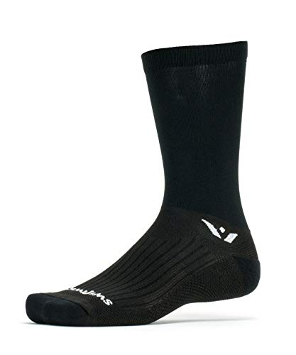 Swiftwick- PERFORMANCE SEVEN Cycling Socks for Men & Women, Wicking, Lightweight, Cushion Crew (Black, Medium)