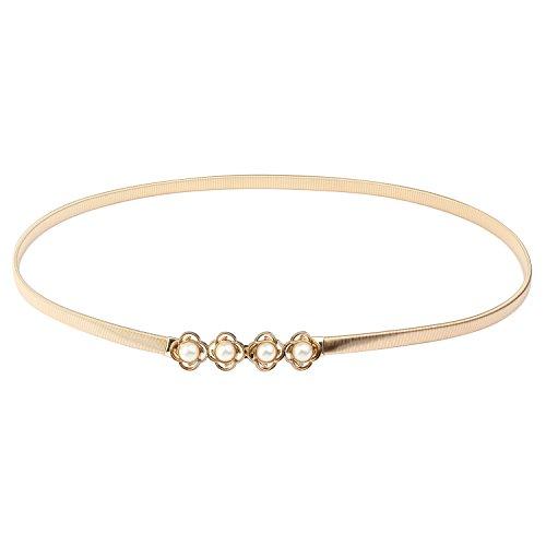 Audixius Damen Schmale Sommer Metall Gürtel Elastisches Taille Kette Mit Künstlicher Perle Dekoration,Gold