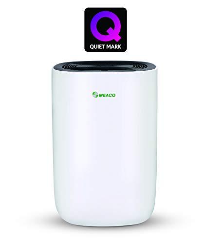 Meaco MeacoDry ABC 10LB - Deshumidificador ultrasilencioso, 35 dB, función secadora, diseño compacto, bajo consumo de energía, 160 W, 240 V, Blanco con panel negro