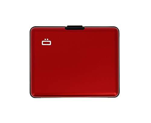 ÖGON Smart Wallets - Big Stockholm-Kartenhalter - RFID-Schutz: Schützt Ihre Karten vor Diebstahl - Bis zu 10 Karten + Belege + Notizen - Eloxiertes Aluminium (Rot)