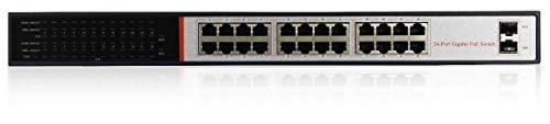 LKM Security Switch Poe 24 poorten Hub Switch 24 poorten (24+2) Fast Ethernet compatibel met camera's en systemen Poe 10/100/1000 Mbit/s
