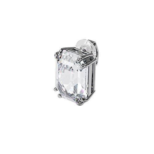 Swarovski Pendiente de clip Mesmera, Individual, Cristal de talla octogonal, Blanco, Baño de rodio