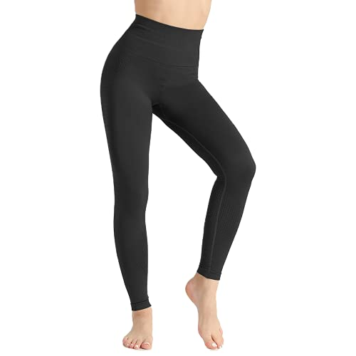 QTJY Flexiones para Mujer Ejercicio Fitness Correr Pantalones de Yoga Cintura Alta Leggings de Cadera Pantalones de Entrenamiento de Celulitis elásticos A M