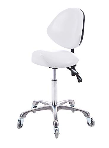 FRNIAMC Adjustable Saddle Stool with Back Support with Wheels Swivel Rolling Ergonomic Office Chair for Home Office Dentict Clinic Beauty Salon Lab Studio(White)