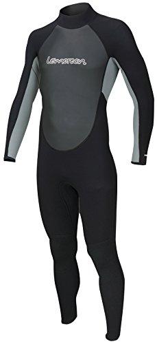 Lemorecn Wetsuits Mens Neoprene 3/2mm Full Suit(3032blackgrey-2XL)