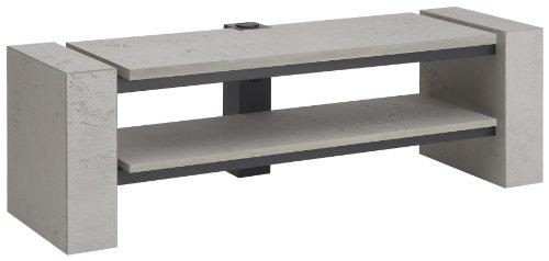 Schnepel TV-Möbel X-1400 offen in Beton-Optik, Kabelkanal mit integrierter Steckdosenleiste, versteckten Rollen, unterer Boden höhenverstellbar in 55mm Schritten, H 475 x B 1400 x T 420 mm