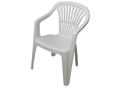 PROGARDEN Azard Chaise Blanche en Plastique, empilable, pour Jardin, Bar, pizzéria, intérieur et extérieur