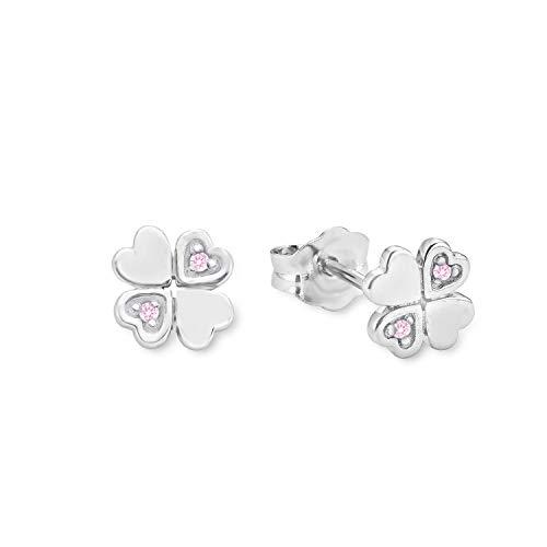 amor Ohrstecker für Mädchen 6 mm Kleeblatt 925 Sterling Silber Zirkonia rosa