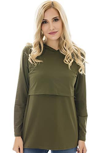 Bearsland Women's Maternity Nursing Hoodie Long Sleeves Casual Top Breastfeeding Sweatshirt,armygreen,S