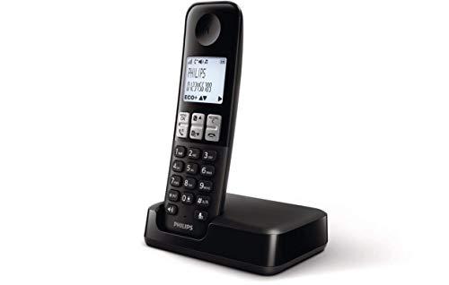Philips D2501B/34 - Teléfono Fijo Inalámbrico (16 Horas, Retroiluminación, HQ-Sound, Manos Libres, Identificador de Llamadas, Agenda 50 Nombres y números, Plug & Play, Eco+) Negro