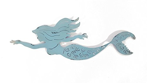 Metal Blue Swimming Mermaid Wall Decor