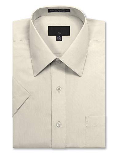 Men's Regular Fit Short Sleeve Dress Shirts 18-18.5N 2XL Ivory