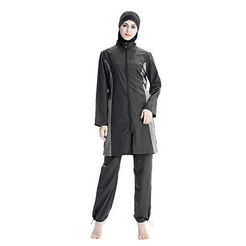 Mr Lin123 Muslim Damen-Badeanzug, 3 Stück, Muslimische Bademode, Burkini Surfanzug mit Badekappe, Schwarz, XXX-Large