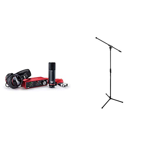 Focusrite Scarlett 2i2 Studio (3rd Gen) USB Audio Interface and Recording Bundle with Pro Tools   First & Amazon Basics Tripod Boom Microphone Stand