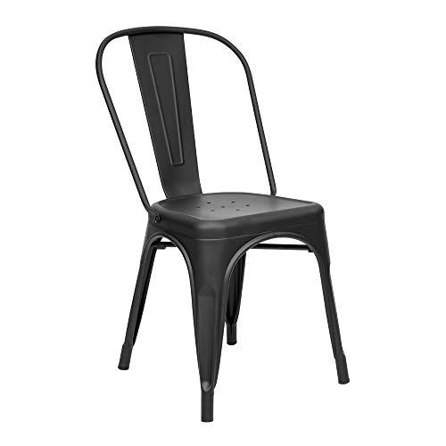 Vaukura Silla Oliix - Silla Industrial Metálica Mate (Negro)