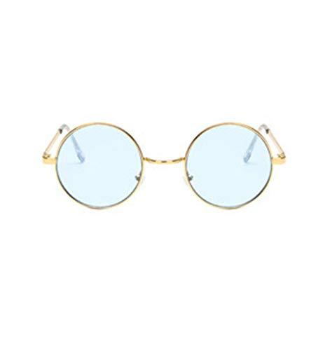 YUFUD Gafa de sol Gafas de sol redondas Mujer Lente de marco de metal vintage Gafas de sol de sombra colorida UV400 E