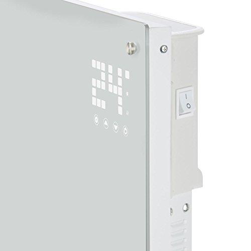 Klarstein Bornholm - Radiateur électrique convecteur chauffage d'appoint forme panneau design (2000 W, Menu LED, 2 niveaux thermostat réglable, roulettes) - blanc