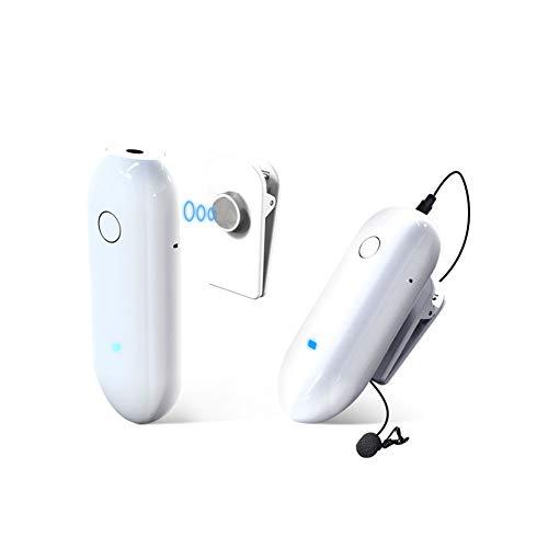 LENSGO LWM-318C - Mini sistema microfono lavalier senza fili Omnidirezionale UHF a 20 canali con 1 trasmettitore/1 ricevitore per Canon Nikon DSLR fotocamera iPhone Android Smartphone-Bianco