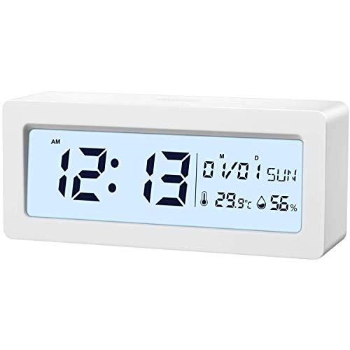 Brifit Digital Wecker, Alarm Clock Digitaluhr Tischuhr Snooze Uhr mit Thermo-Hygrometer, Frische Farben große LCD-Ziffern Hintergrundbeleuchtung Batteriebetrieben Energieeffizient ohne Ticken, weiß