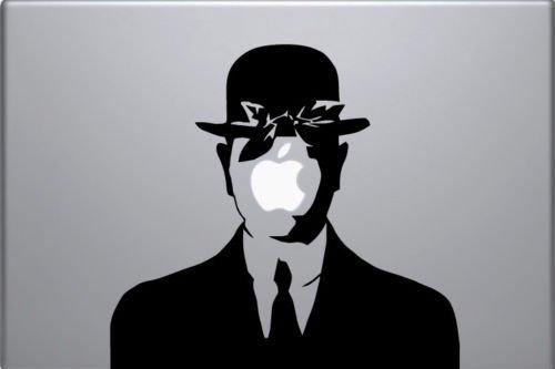 Wall4Stickers Autocollant pour Ordinateur Portable Laptop Vinyle Autocollant Rene Magritte Fils de l'homme Autocollant macbook décalque Art Pomme