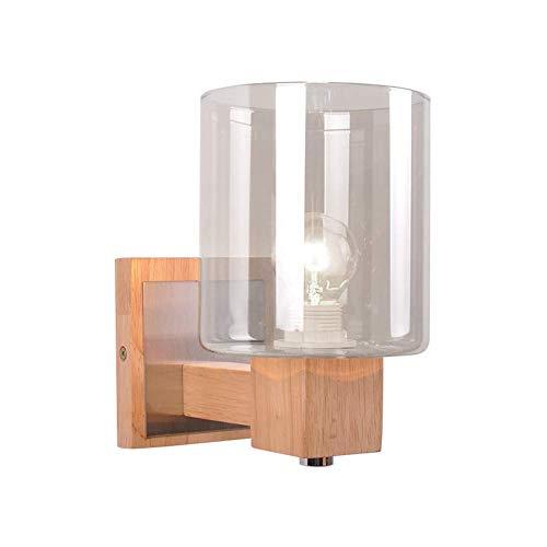 TINGLI Home Exquisitas lámparas decorativas retro iluminación interior de cristal Aplique de pared E14 madera diseño simple decorativo pared luz para dormitorio pasillo noche lámpara de pared