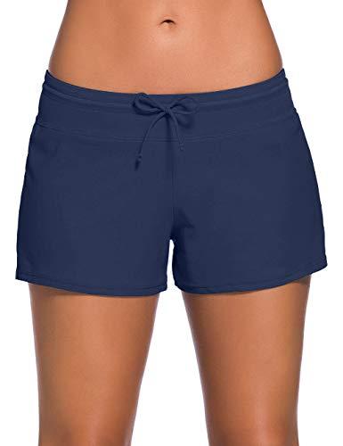 """ChinFun Verstellbarer Kabelbinder Damen Badeanzug Swim Boardshorts Shorts S-XXXL, Damen, Navy, S (Waist 25\""""-26½\"""")"""