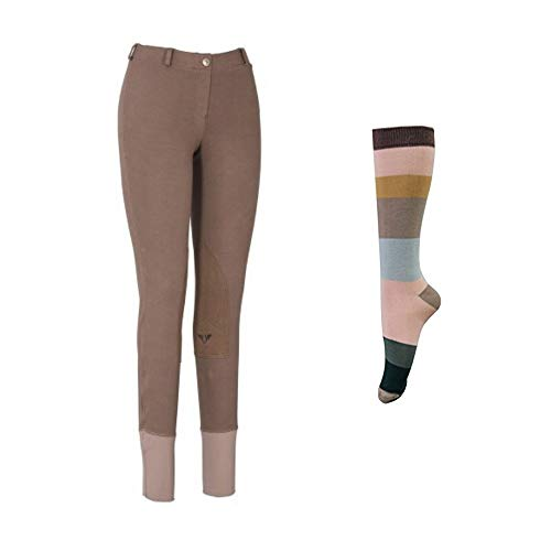 TuffRider Women Starter Lowrise Pull On Breeches with Free Assorted Striped Socks | Knee Patch | Horse Riding Pants | Equestrian Apparel - LavaBrown - 30