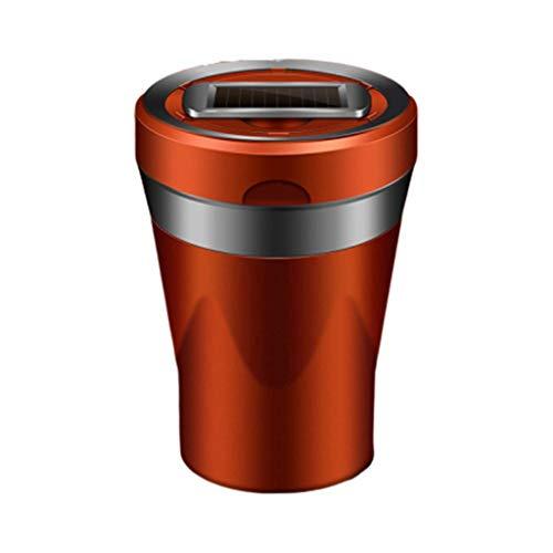 WHLSHR Aschenbecher Auto Keramik Rauch Aschenbecher Solarenergie LED Abnehmbarer Zigarettenanzünder USB Solar Knopfzelle Aufladen Auto Zubehör, Orange