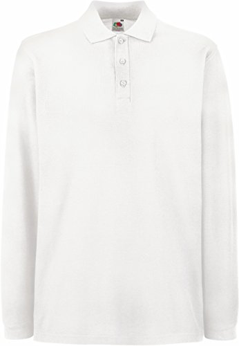 Fruit of the Loom - Premium Longsleeve Polo - Modell 2013 / White, L L,White