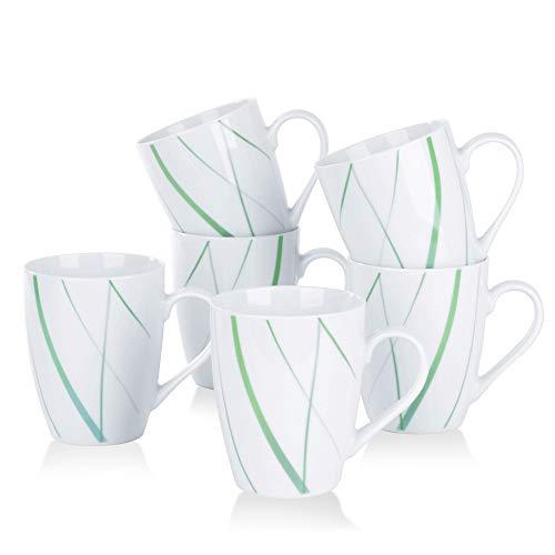 VEWEET, Porzellan Kaffeebecher 'Aviva' 6-teilig Set   Füllmenge 350 ml, Höhe 10,2 cm   Ergänzung zum Tafelservice 'Aviva'   Teetassen für 6 Personen
