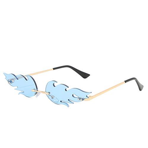 Xniral 2stk Brillengestell Männer und Frauen Dekorative runde flache Spiegelgläser(Blau)