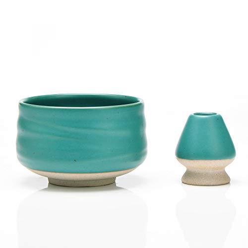 TEANAGOO Set de Accesorios para Ceremonia Matcha, Multicolor y Forma. (Verde Mate, cerámica)