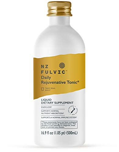 New Zealand Fulvic Acid Organic Blend Mineral Supplements, Trace Minerals Energy Recharge Tonic, Pure Liquid Drops for Gut Health and General Wellness - 16.9 fl oz (Single Bottle)