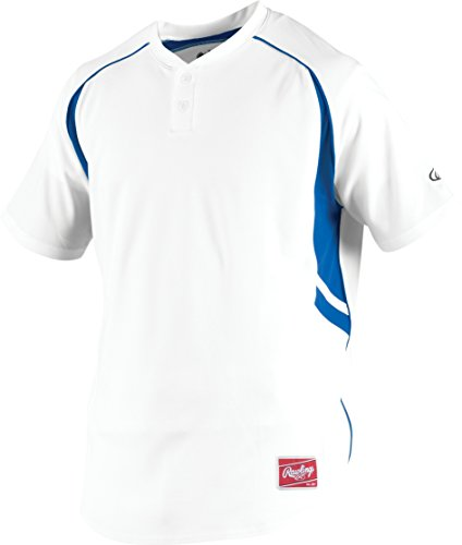 Rawlings Men's 2-Button Jersey, White/Royal, Medium