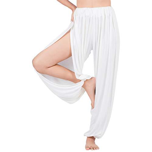 Lofbaz Yoga Harem Pantalones para Mujer Boho Dance Joggers Mujer PJs Lounge Ropa Ropa de Maternidad Genie Hippie Beach Blanquecino XL