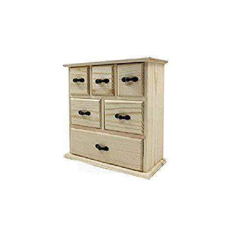 takestop Cajonera con 6 cajones de 22 x 23,5 x 10 cm. Caja de madera para decoupage, caja para joyas, escritorio, accesorios para guardar objetos