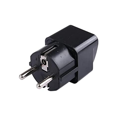 WEFH Universal UK US AU to EU AC Power Socket Adaptador de Viaje Cobre Puro, Negro
