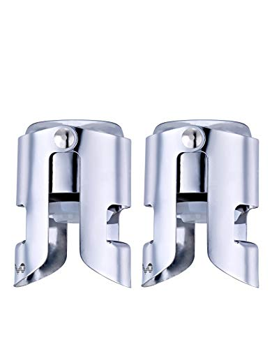 OWO Champagne Stopper with Stainless Steel, Professional Bottle Sealer for Champagne, Cava, Prosecco & Sparkling Wine, Champagne Saver Plug, Compact Champagne Bottle Plug Set of 2