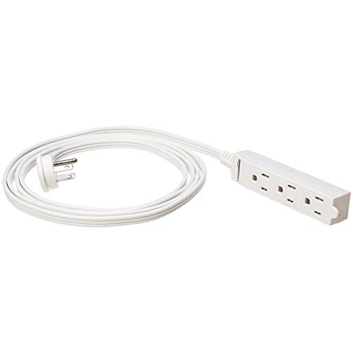 Amazon Basics 8-Foot 3-Prong Indoor Extension Cord Power Strip - Flat Plug, Grounded - 13 Amps, 1625 Watts, 125 VAC - 2-Pack, White